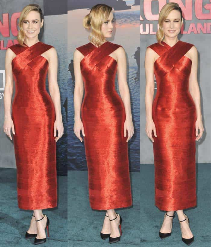 Brie Larson in red Oscar dela Renta dress