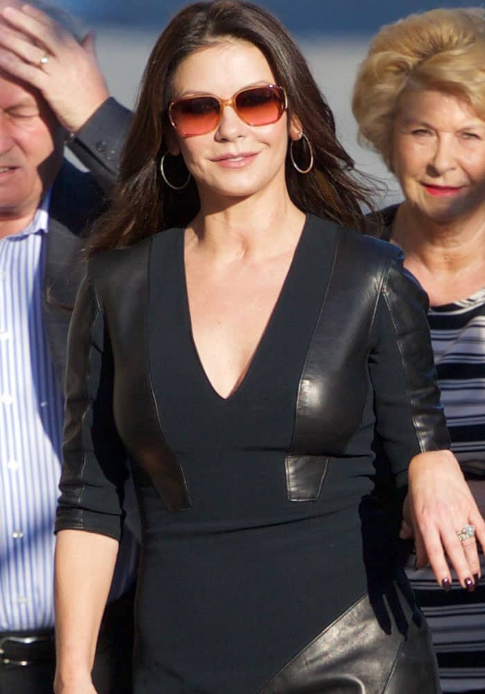 Catherine Zeta Jones seen arriving at the ABC studios for Jimmy Kimmel Live! in Los Angeles on March 1, 2017