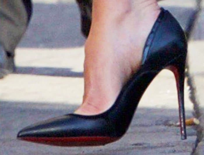 Not so basic: Catherine moves away from the Pigalle and slips her feet into the Christian Louboutin Serianina pumps instead
