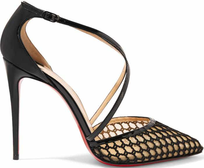 Christian Louboutin Cross Blake Patent Leather and Embroidered Mesh Pumps