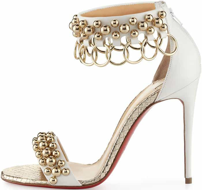 "hristian Louboutin ""Gypsandal"" Ball-Studded Ring-Trim Sandals"