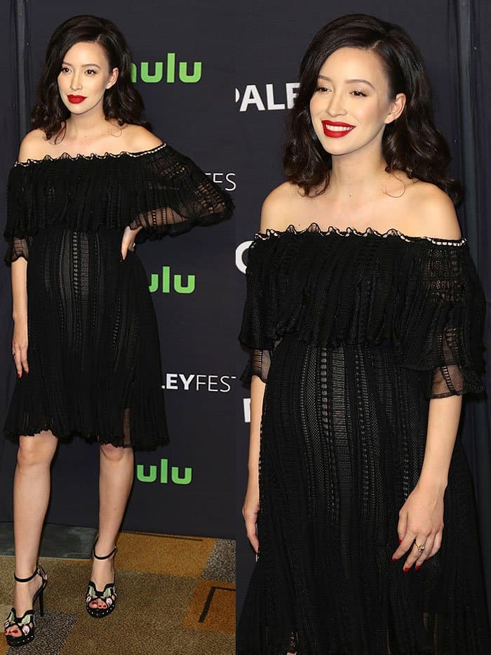 "Christian Serratos at ""The Walking Dead"" presentation during the 34th annual PaleyFest at the Dolby theatre in Hollywood, California, on March 17, 2017."