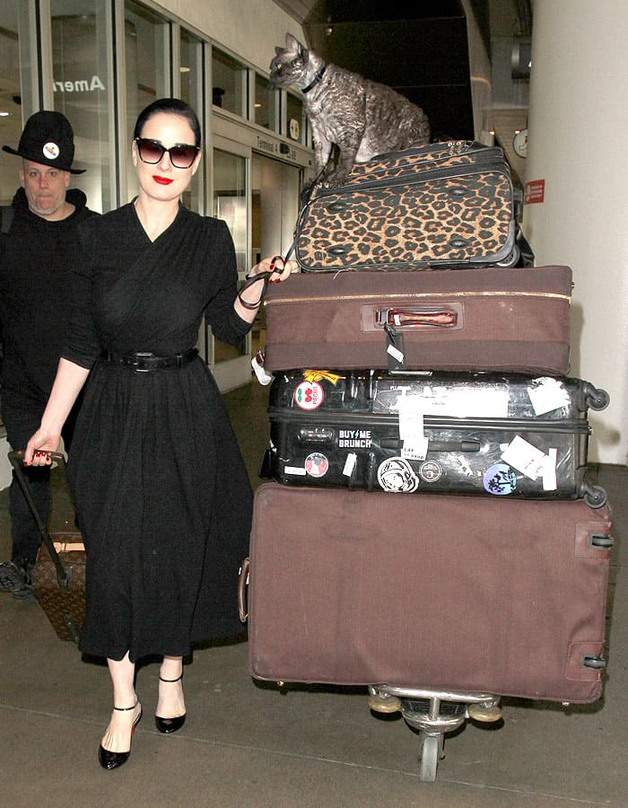 Dita Von Teese traveling with her Devonshire Rex cat named Aleister
