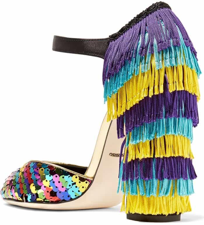 Fringe Dolce & Gabbana Mary Jane Pumps With Rainbow-Sequined Toe Caps