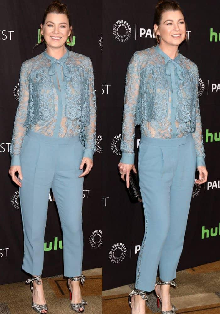 Ellen Pompeo steps out in a lace jumpsuit by Elie Saab