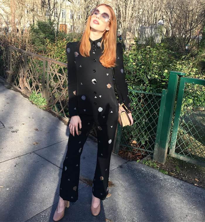 Emma uploads a photo of her Chloeé outfit during Paris Fashion Week
