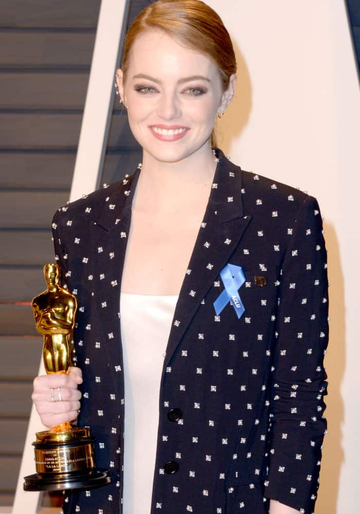 Emma Stone attending the Vanity Fair Oscar Party at the Wallis Annenberg Center for the Performing Arts