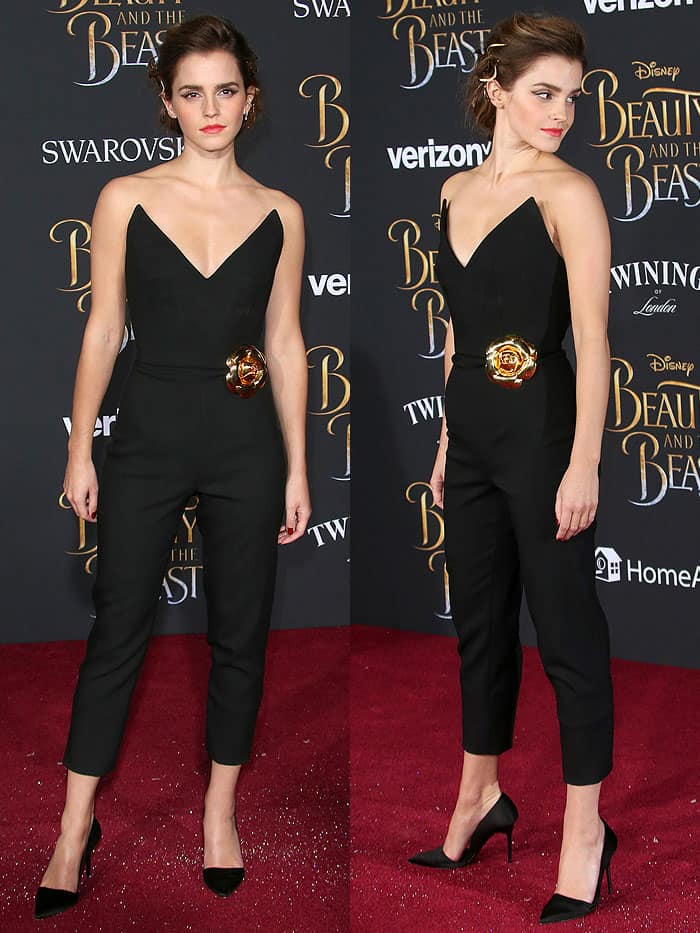 "Emma Watson in a black Oscar de la Renta jumpsuit and Burberry satin d'Orsay pumps at the ""Beauty and the Beast"" world premiere."