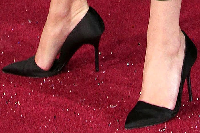 Emma Watson in Burberry black satin d'Orsay pumps