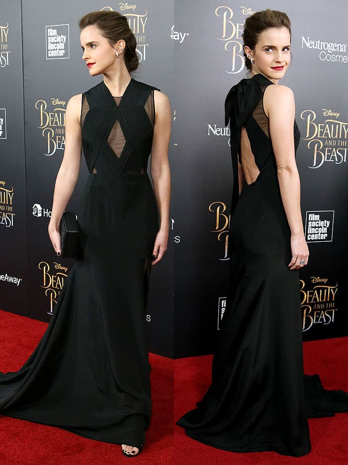 "Emma Watson in a Givenchy couture gown and block-heel sandals at the ""Beauty and the Beast"" NY premiere on March 13, 2017."