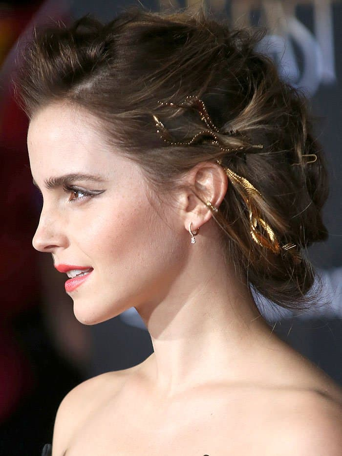 "Emma Watson wearing Adir x LeletNY gold hair wreath jewelry at the ""Beauty and the Beast"" world premiere."