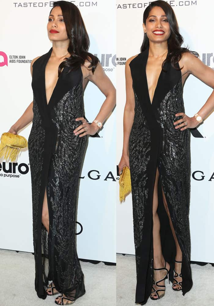 Freida showed off her slim physique in a Rohit Gandhi and Rahul Khanna sequined dress