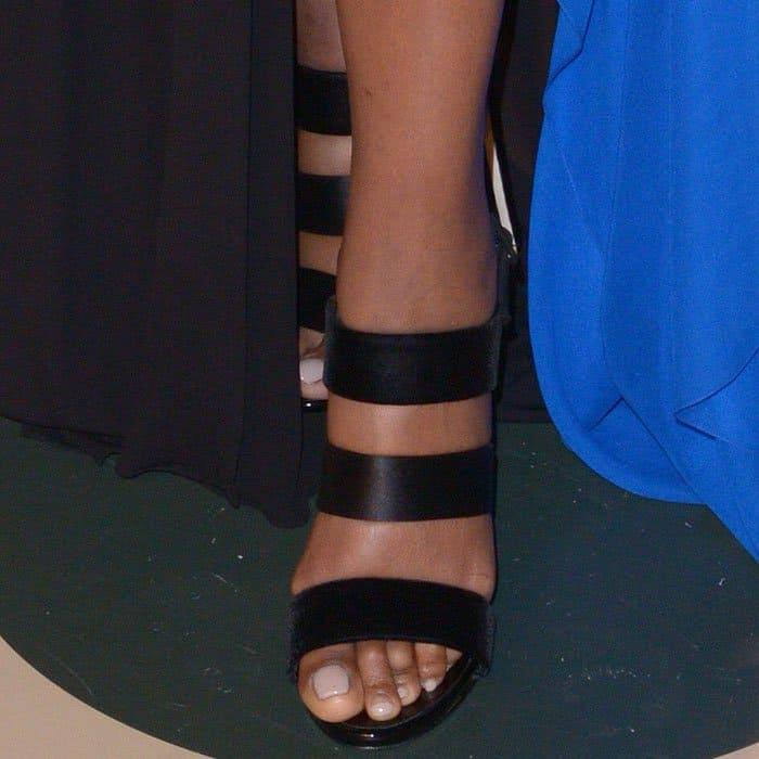 """Gabrielle Union's pretty feet in Giuseppe Zanotti """"Alien"""" triple-strap slingback sandals"""