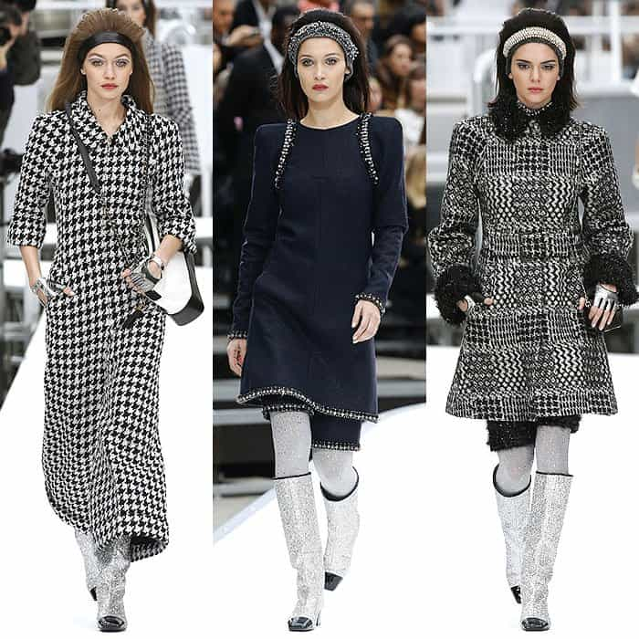 Gigi Hadid, Bella Hadid, and Kendall Jenner at the Chanel fall 2017 fashion show presented during Paris Fashion Week Womenswear Fall/Winter 2017/2018 in Paris, France, on March 7, 2017.