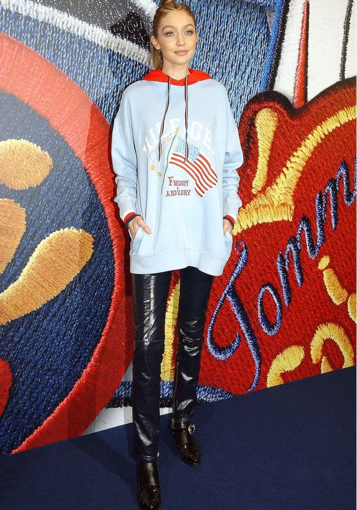 Gigi Hadid attends the Capsule Collection TOMMYxGIGI Spring 2017 in Paris on February 28, 2017
