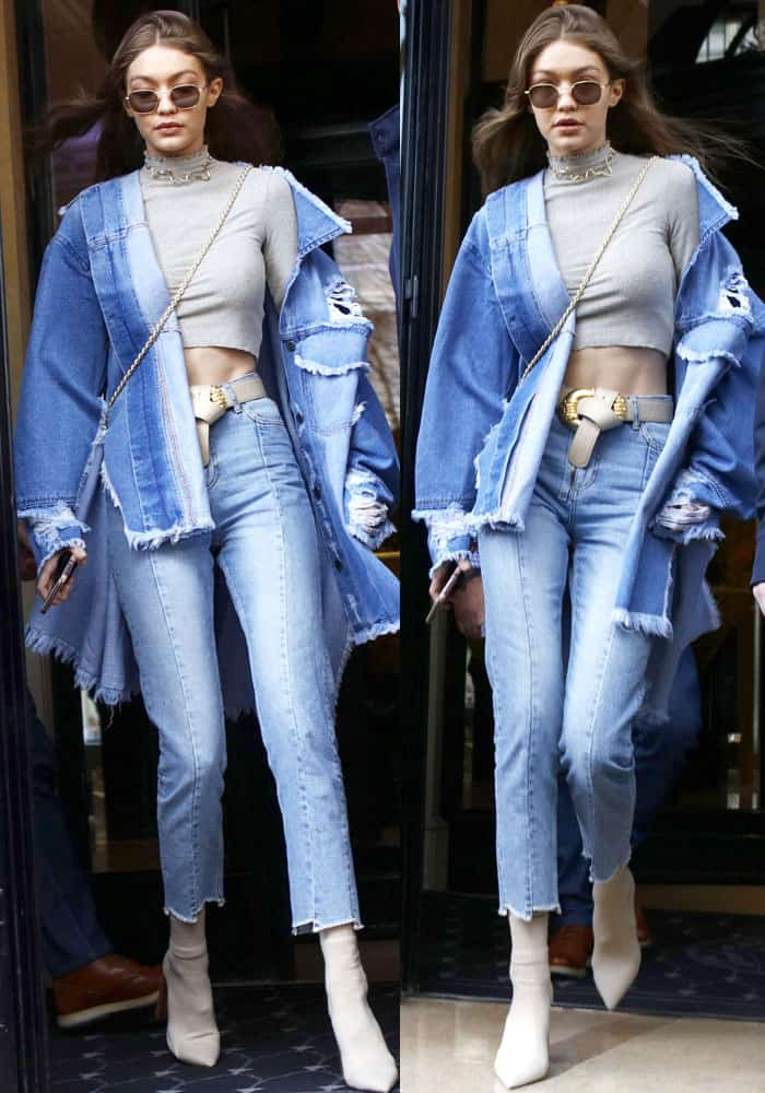 Gigi Hadid spotted leaving her hotel in Paris on March 2, 2017
