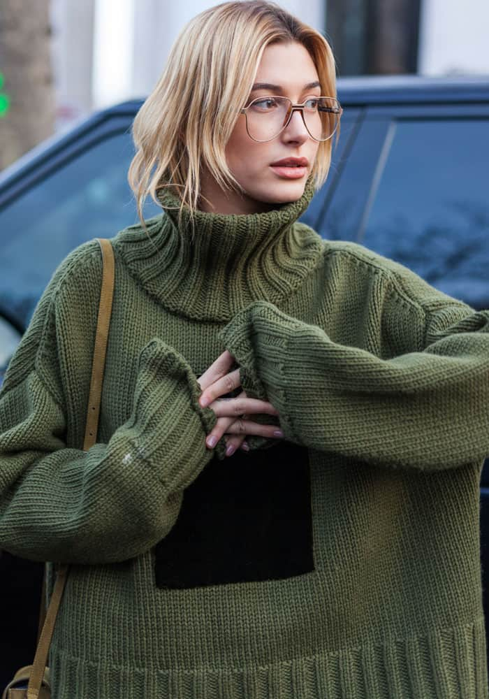 Hailey put on a pair of eyeglasses for a more toned down look