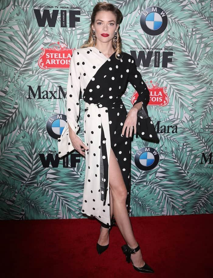 Jaime King in Monse polka dot dress and ankle strap sandals Pre Oscars Party