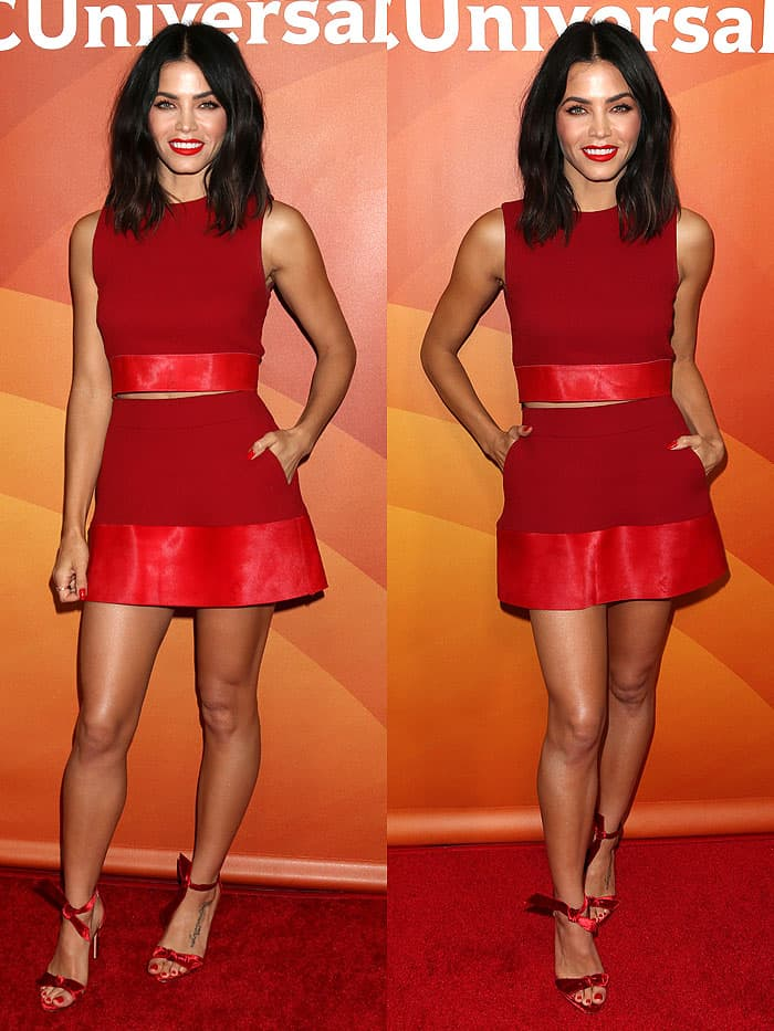 Jenna Dewan Tatum looked fit and finein her red head-to-toe ensemble