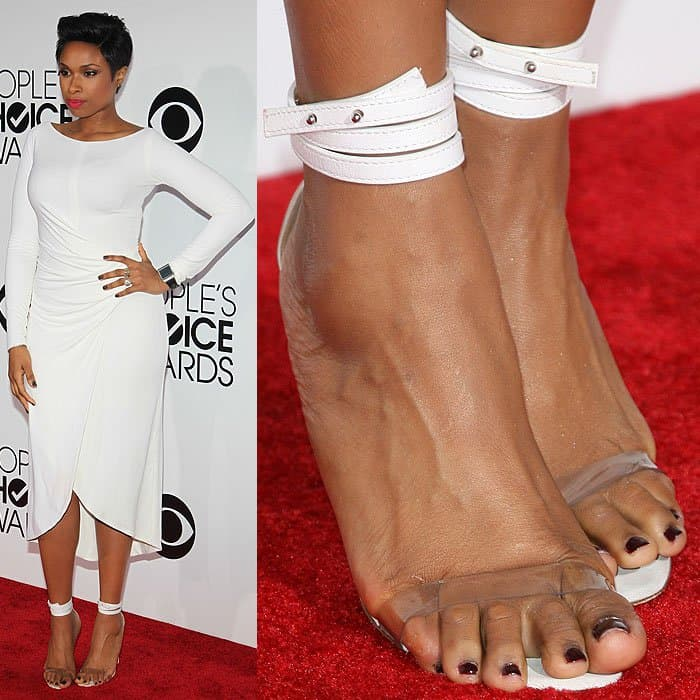 Jennifer Hudson with a bad toe overhang in Manolo Blahnik clear-strap ankle-wrap sandals