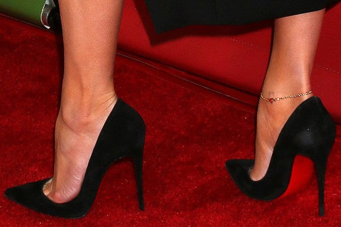 "Jennifer Lopez's feet in black suede Christian Louboutin ""So Kate"" pumps"