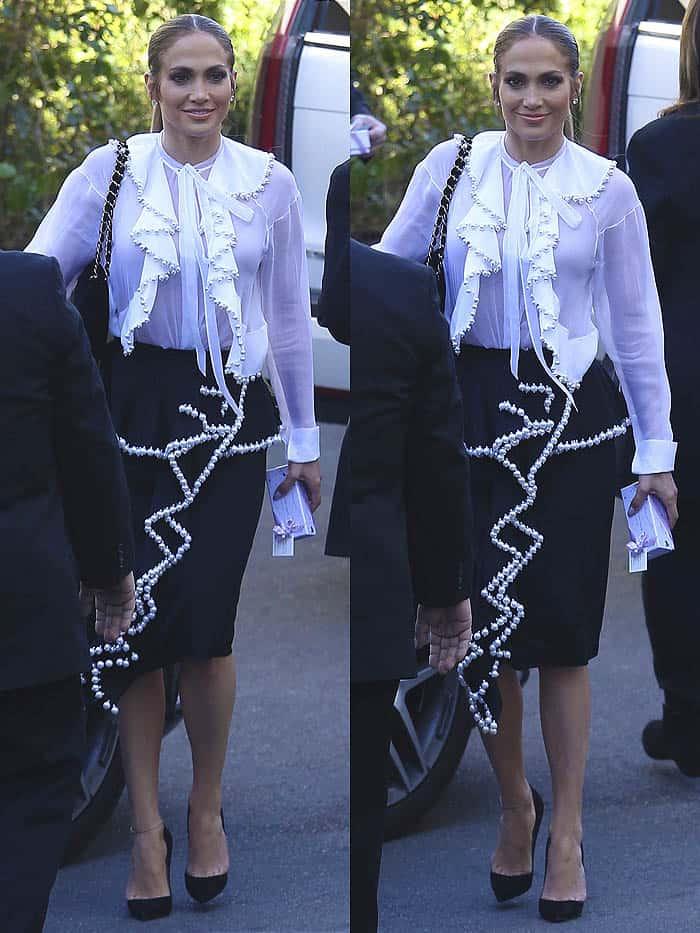 Jennifer Lopez wearing a matching pencil skirt