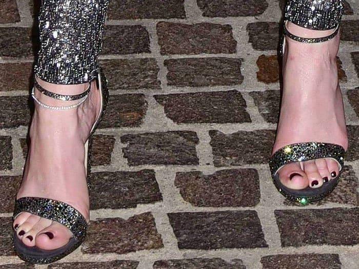 "Jimmy Choo ""Kaylee"" crystal-encrusted sandals on Jennifer Lopez's feet"