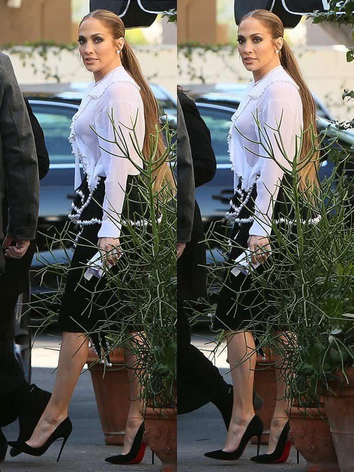 Jennifer Lopez's Givenchy pearl-embellished ruffle-front blouse