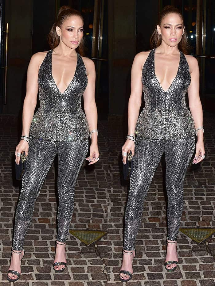 Jennifer Lopez in silver Zuhair Murad spring 2017 jumpsuit and Jimmy Choo 'Kaylee' crystal-encrusted sandals.