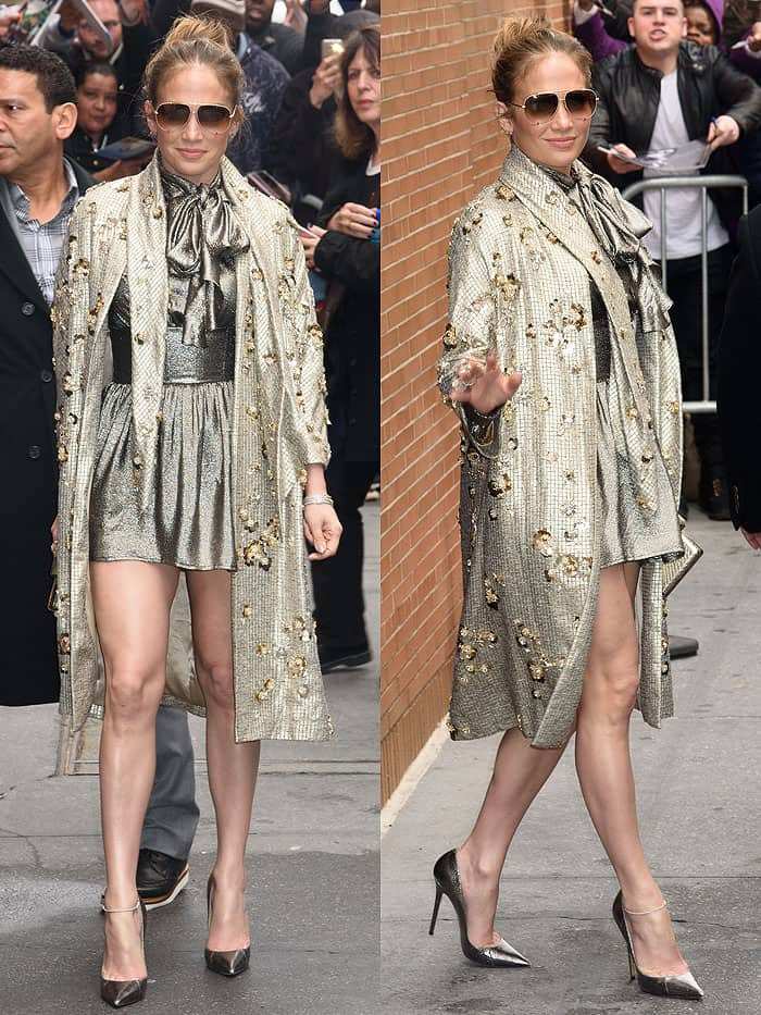 Jennifer Lopez styled her Jenny Packham Spring 2015 metallic coat with Jimmy Choo Anouk pumps