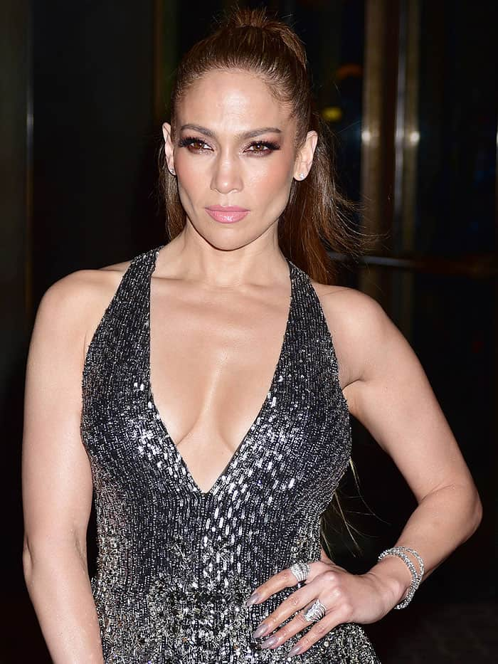 """Jennifer Lopez in a silver Zuhair Murad jumpsuit at the season 2 premiere of """"Shades Of Blue"""""""