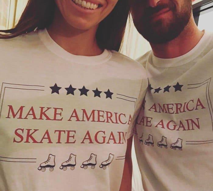 Jessica and husband Justin Timberlake wear their make America skate again shirts