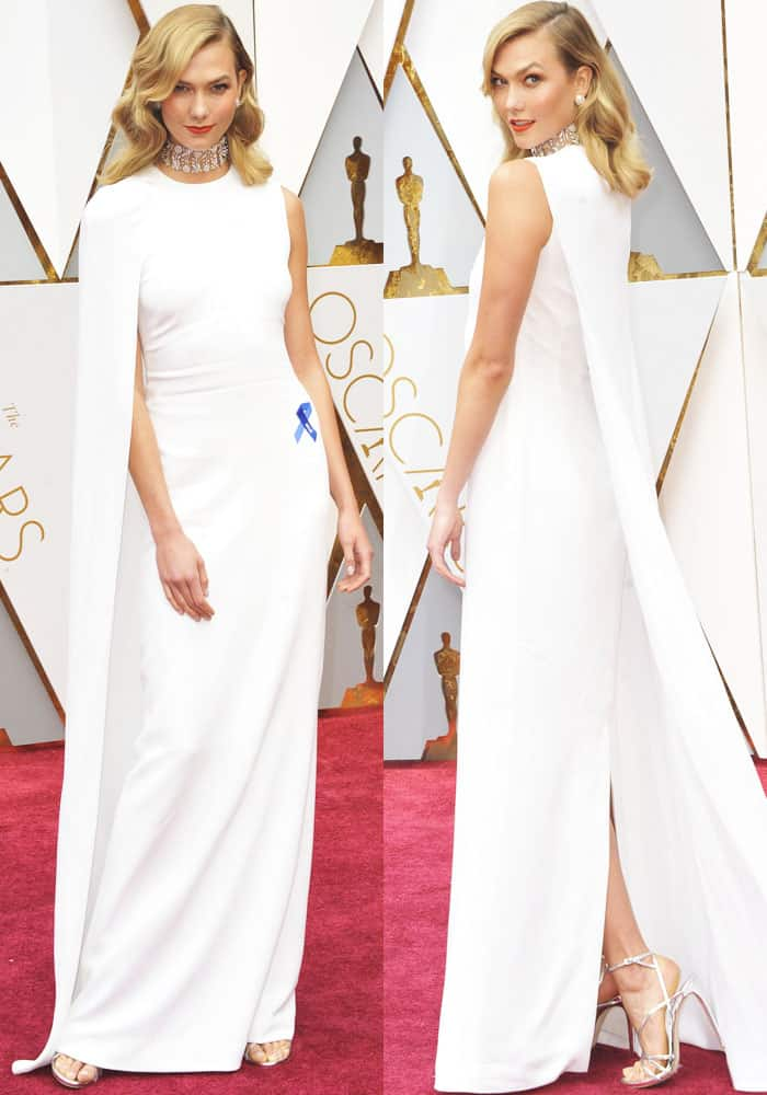 Karlie wins the red carpet in a Stella McCartney uneven cape creation