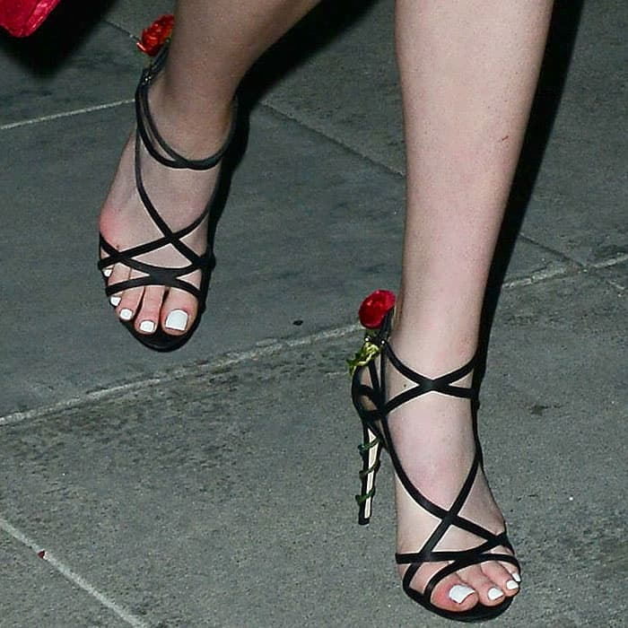 "Dolce & Gabbana ""Keira"" red-rose-heel strappy satin sandals on Karsen Liotta"