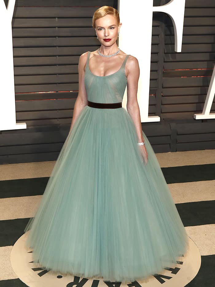 Kate Bosworth in an ice-blue J. Mendel gown and Christian Louboutin 'Girlsbestfriend' sandals at the 2017 Vanity Fair Oscar Party on February 26, 2017