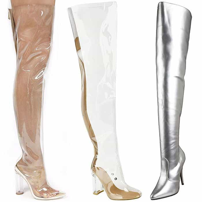 Clear Thigh-High Boots