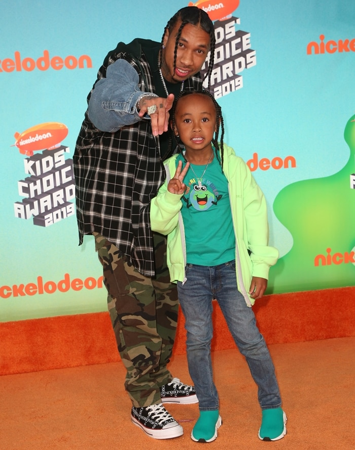 6-year-old King Cairo Stevenson with his father Tyga attend Nickelodeon's 2019 Kids' Choice Awards