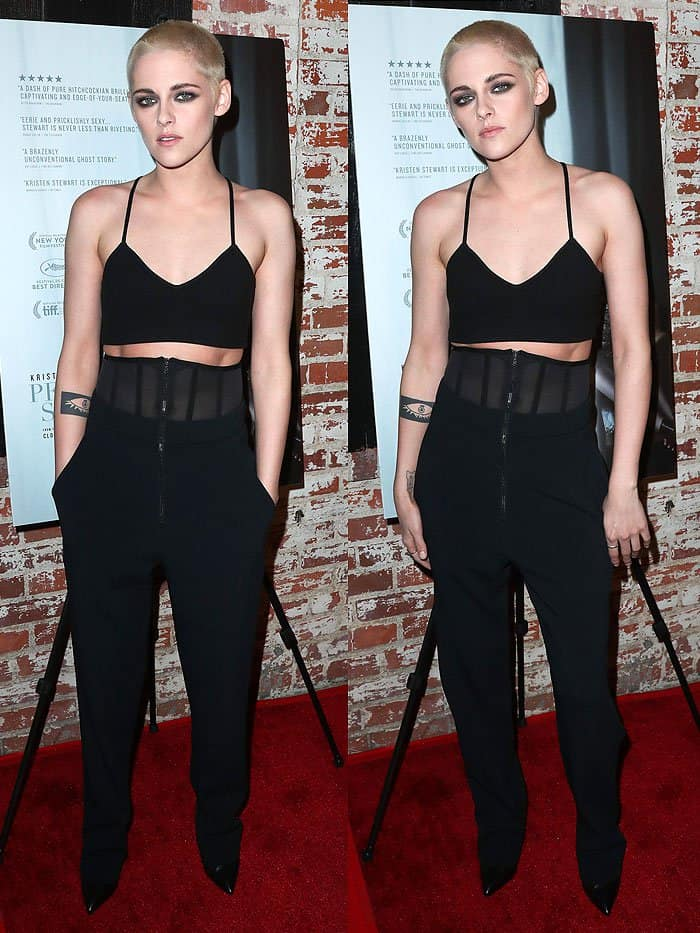 "Kristen Stewart with a blond buzz cut at the ""Personal Shopper"" premiere in Los Angeles, California, on March 7, 2017."
