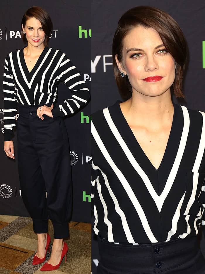 "Lauren Cohan at ""The Walking Dead"" presentation during the 34th annual PaleyFest at the Dolby theatre in Hollywood, California, on March 17, 2017."