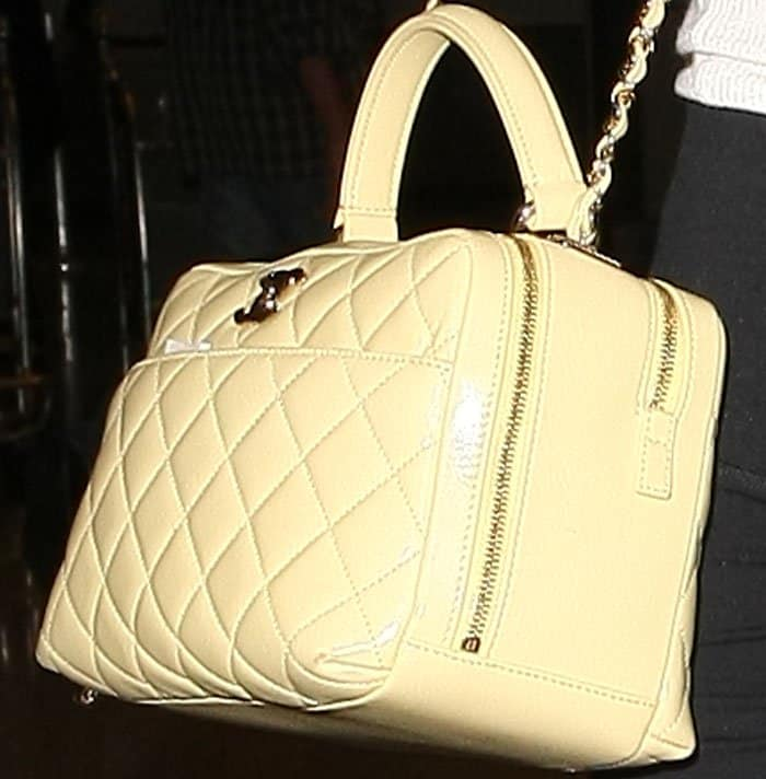 True blue Karl Lagerfeld girl: Lily-Rose carries a quilted tote from Chanel