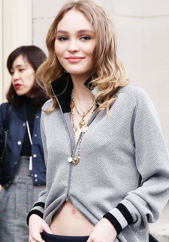 Lily Rose Depp arriving at the Chanel show during Paris Fashion Week Fall/Winter 2017/2018 on March 7, 2017