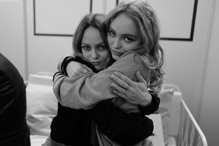 Lily-Rose gives her mother a tight hug backstage