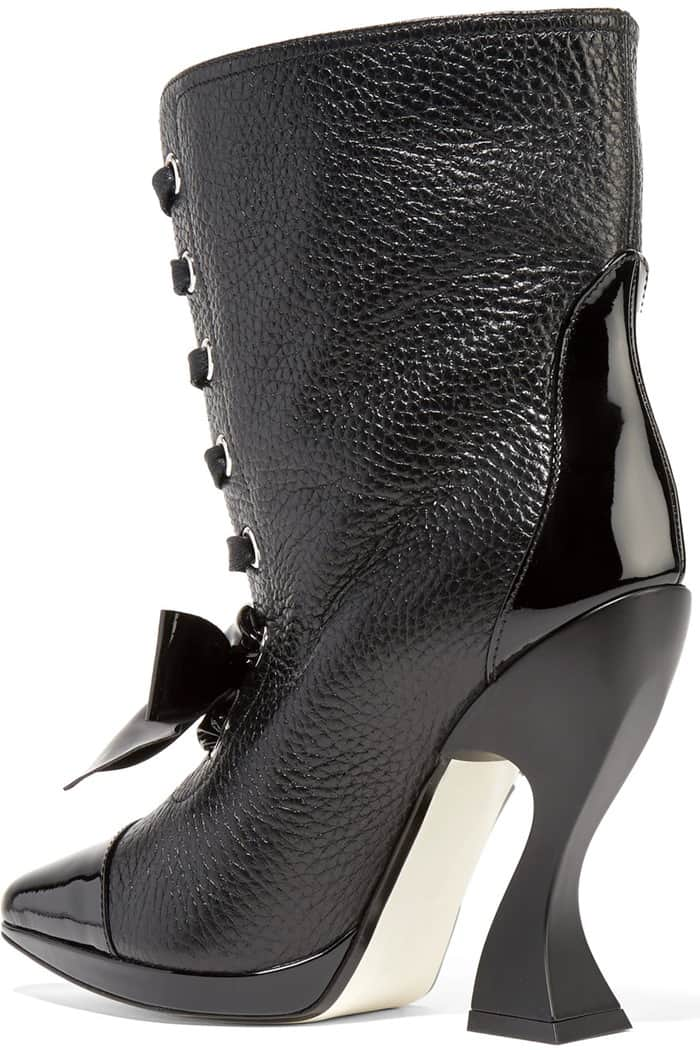 Loewe Patent-Trimmed Textured-Leather Boots