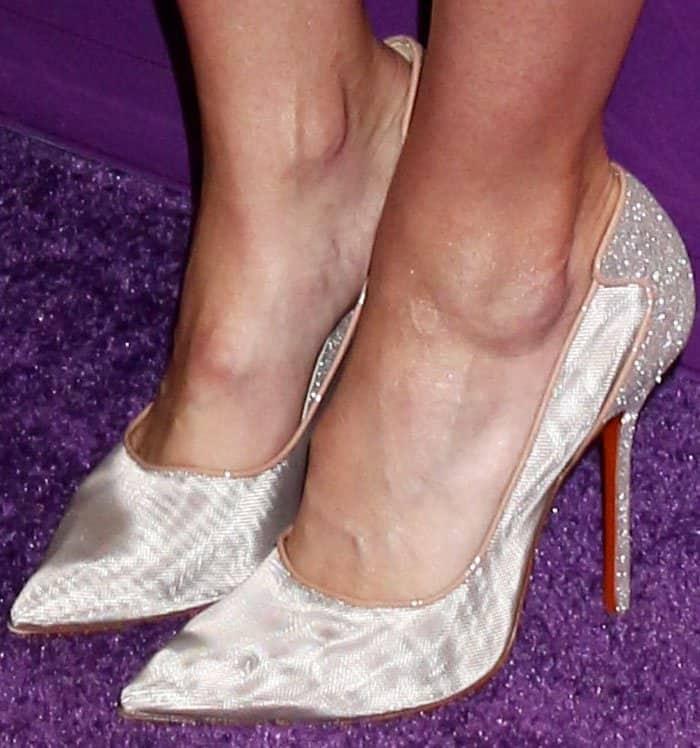 Mandy sparkles in a pair of Soebedar Shania mesh pumps in glitter