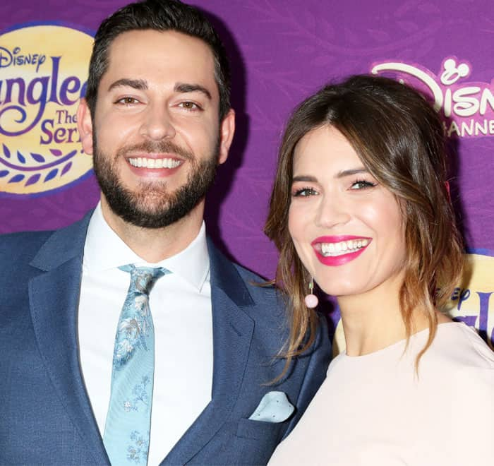 Mandy poses with her Tangled co-star Zachary Levi