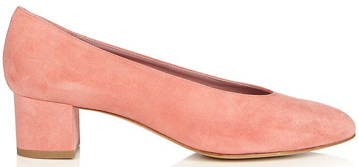 Mansur Gavriel Ballerina Pumps in Pink Suede
