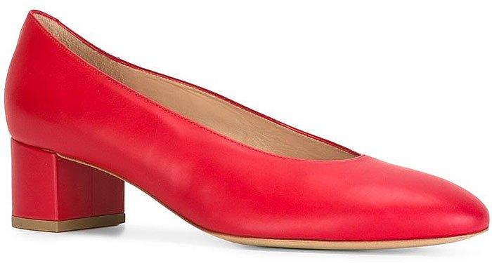 Mansur Gavriel Ballerina Pumps in Red Leather