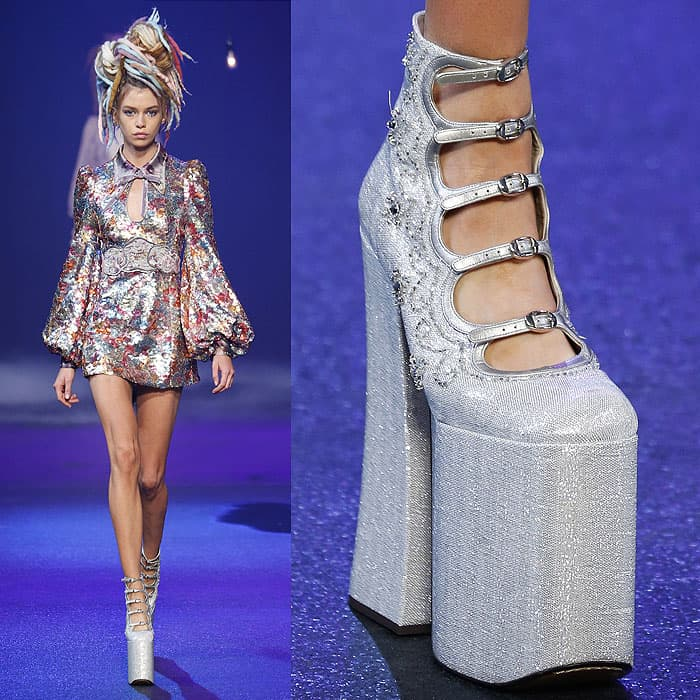 Silver, strappy, sky-high platform pumps as presented at the Marc Jacobs Spring 2017 fashion show