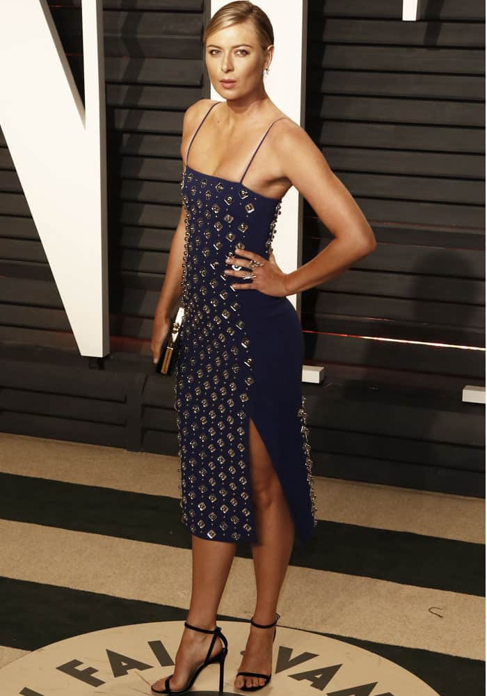 Oscars Party Maria Sharapova In David Koma Midi Dress And