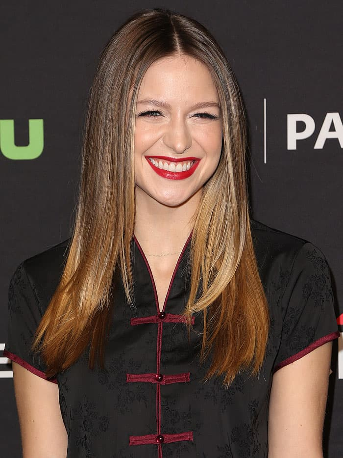"Melissa Benoist at The Paley Center for Media's 34th Annual PaleyFest presentation of The CW's ""Heroes & Aliens"" held at Dolby Theatre in Hollywood, California, on March 18, 2017."